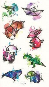 Mini Animal Temporary Tattoo – Small Mini Version Fractal Watercolor Animals Temporary Tattoo…