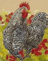 Huhn-Malerei – abgehaltener Felsen-Hahn in den Pelargonien durch Tracie Thompson   – Painting ideas