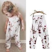 Kleinkind-Baby-Mädchen-Hosen-einteiliger Halter-Spielanzug mit Blumen