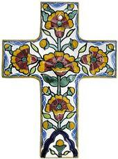 Mexico Handmade Talavera Cross