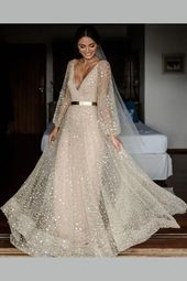 V-neckline Sequin Wedding ceremony Attire Free Lengthy Sleeves