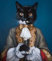 Custom Pet Portrait In Suit Gothic Home Decor Commission Etsy Animal Portraits Art Custom Pet Painting Cat Portraits