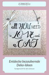 Wanddekoration Liebe und Katze (handbemalt)   – Etsy Amazon Products