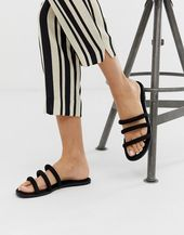 New Look tube flat slider sandal in black