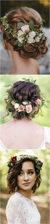 18 beautiful wedding hairstyles with a flower crown – #flower crown #wedding hairstyles #short hair #with # beautiful