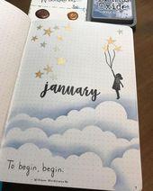 Monatliches Deckblatt des Bullet-Journals für ein ganzes Jahr. Brauchen Sie Inspiration für Ihre