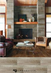 Not Just For Floors Our Speakeasy S Wood Look Porcelain Planks In Zoot Suit Give This Fireplace A Rustic Home Fireplace Fireplace Tile Contemporary Fireplace