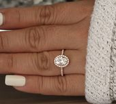 2.00ct Moissanite Oval 9x7mm Engagement Ring, Diamond Halo Ring, Diamond Half Eternity Band,Wedding Ring, Forever Classic Moissanite Ring   – Wedding