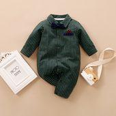 Baby Boy Gentleman Bowknot Decor Stripe Long-sleeve Jumpsuit