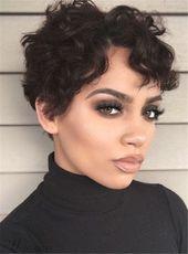Boycut Sexy Curly Pixie Short Kunsthaar Lace Front Afroamerikaner Perücken 6 Zoll –  – #Kurzhaarfrisuren