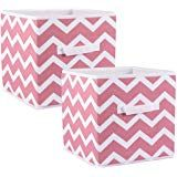 Dii Fold Able Fabric Storage Container 11 X 11 X 11 Inch Set Of 2 Rose Chevron Small Fabric Storage Bins Fabric Storage Cube Storage