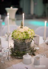 Tischdekoration grüne cremeweiße Hortensie   – blumengestecke
