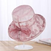 Frauen Sommer elegante Samt Bowknot breiter Krempe Floppy Bucket Hat Outdoor Sonnenschutzkappe  – Products