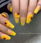 60 Gorgeous Natural Yellow Acrylic Nails Design Spring & Summer in 2019 – Page 6 of 58