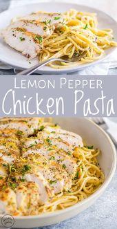 Diese Zitronenpfeffer-Hühnchen-Pasta ist eine großartige, einfache, preiswerte Mahlzeit für die …