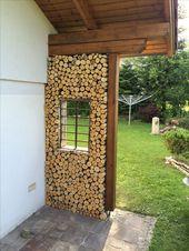 fertige Wand aus Birkenholz-dekorativ im Garten – Decorating Ideas – Garden Decorations