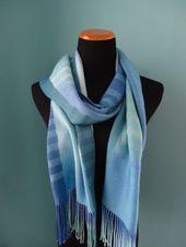Seaside Magic Tencel Scarf – Blue Weft/ Handwoven