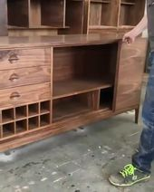Handcrafted Walnut Tambour Wine Bar