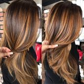 60 Looks great with caramel highlights on brown and dark brown hair – Best Hairstyles Haircuts
