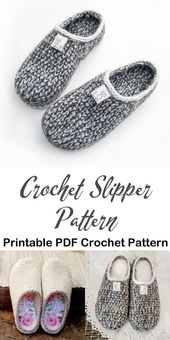 Make a cozy pair of knit look slippers. slipper cr…