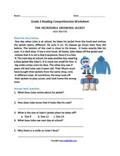Incredible Growing Jacket Second Grade Reading Worksheets With