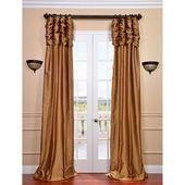 Exclusive Fabrics & Furnishings Ruched Brown Gold 84 X 50 Inch Thai Silk Curtain Single Panel Ss Sbn11 84 Ru