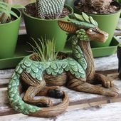 "Clever little dragon planter with juicy scales! ""Planters are in the store!"