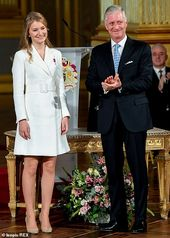 Princess Elisabeth of Belgium celebrates her 18th birthday on the Royal Palace in Brussels