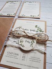 10x Einladungen zur Hochzeit aus Kraftpapier Eucalyptus grüne Pflanzen Hochzeitseinladungen Vintage Boho Rustikal Kraft Hochzeitskarten