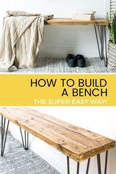 Lernen Sie, wie Sie eine Bank für Ihr Zuhause bauen. Mit 2 x 4 Holz- und Haarnadelbeinen. Einfach