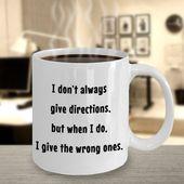 Lustiger Fahrerbecher, lustiger sarkastischer Becher, Richtungsbecher, Direktorgeschenke, lustiges Gaggeschenk, Geschenke des weißen Elefanten, Kaffeetasse gebend   – COFFEE MUGS