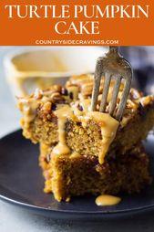 Dieser Turtle Pumpkin Cake ist einfach zuzubereiten, feucht und voller Geschmack! Es ist fille …