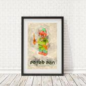 Peter Pan-Poster, Disney Print, Lego Dekor, Disney Wand Dekor drucken, druckbare Kunst, Lego Wandkunst, Lego Charakter drucken, Disney, Disney Kunst   – Lego Printables