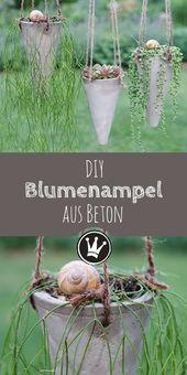Sommerlicher Blickfang: Gartenstecker & Blumenkorb aus Beton – DIY – Gartendeko
