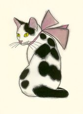 Items similar to Cat print  Cat Drawing.Pretty in pink – 4″ X 6″ cat print – 4 for 3 SALE on Etsy