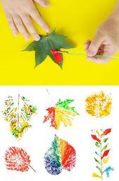 Unterhaltsame und kreative Möglichkeiten für Kinder, mit Blättern zu malen. H