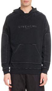 Givenchy Herren Triple-Stitch Destroyed-Logo Hoodie Sweatshirt – Hoodie Jackets for Men    Long Sleeve Hoodie for Men   Mens hooded Sweatshirt
