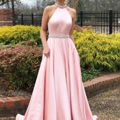 Simple A-line Prom Dresses Pink High Neck Cheap Beading Prom Dress Evening Dress GMY652