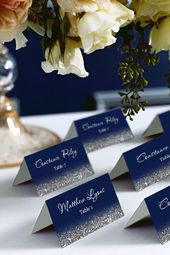 Navy and Silver Glitter Tent Place Cards, Place Cards, Avery 5302 DIY Place Card Printable, code-048-4