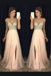 Customized Comely Prom Dresses Long Sparkly A-line Beads Top Pink Long Prom Dress With Slit