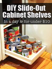 Organize Your Pantry with DIY SlideOut Cabinet Shelves Drawers
