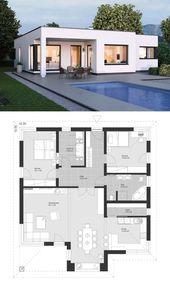 Moderner Bungalow im Bauhaus Design mit Flachdach Architektur & Grundriss modern