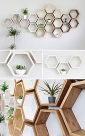 Rustikales weißes Hexagon Wandregal aus massiver Eiche