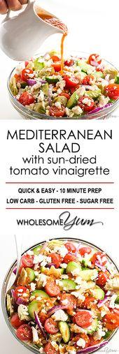 Mediterranean Salad Recipe with Sun-dried Tomato Vinaigrette – This Mediterranea…