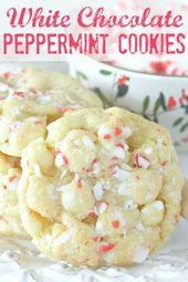 Weiße Schokolade Pfefferminzplätzchen | Foodtastic Mom #Weihnachtscookies #Urlaub …