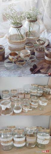 Ozdoby słoiczki rustykalne boho ślub wesele wazo…