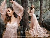 Mermaid Glitter Bridal Dress, Luxury Sequin Rose Gold Beaded BOHO Wedding Prom Engagement Dress with Slip Long Silk Dress, SBA New 2020