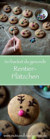 Backe gesunde Rentier-Plätzchen mit Mandelmus – nutsandblueberries