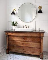 Plus de 25 magnifiques idées de vanité de salle de bain en bois patiné de style ferme