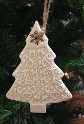 Rustic Salt Dough Christmas Tree Ornament – Intricate